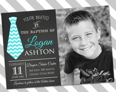 Boy Baptism Invitation - Missionary Farewell -  LDS Baptism Custom Downloadable Invitation - Ties and Pies Invitation