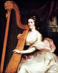 Portrait of Lady Jane Mildmay, seated three-quarter-length, in a white silk dress playing the harp John Francis Rigaud (British, Oil on canvas. Lady Jane Mildmay was. Newington Green, Lady Jane, Greek Art, A4 Poster, Vintage Artwork, American Revolution, Turin, Woman Painting, Dog Friends