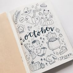 Bullet Journal October doodles cover page. drawings bullet journal Bullet Journal October Cover Page Bullet Journal Inspo, Minimalist Bullet Journal, Bullet Journal Spreads, Bullet Journal Cover Ideas, March Bullet Journal, Bullet Journal Layout, Journal Covers, Bullet Journals, Journal Ideas