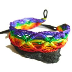 Rainbow Macrame Braided Bracelet - Gay & Lesbian LGBT Pride Price: $5.95 http://www.shareasale.com/m-pr.cfm?merchantID=36679&userID=856296&productID=545979978