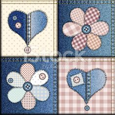 Jeans patchwork with applique of flowers and hearts royalty-free stock vector art
