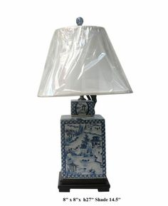 Chinese Blue & White Porcelain Sqaure Jar Table Lamp