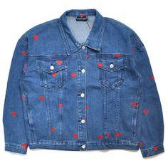 Lazy Oaf Denim Love Jacket ❤ liked on Polyvore featuring outerwear, jackets, denim jacket, lazy oaf, blue jackets, blue denim jacket and lazy oaf jacket