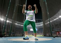 Dilshod Nazarov of Tajikistan celebrates during the Men's Hammer Throw Final on Day 14 of the Rio 2016 Olympic Games at the Olympic Stadium on August 19, 2016 in Rio de Janeiro, Brazil.