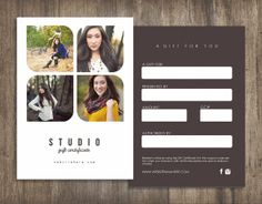Studio double sided gift certificate design Instant by Deidamiah Photography Business Cards, Photography Packaging, Photography Marketing, Gift Voucher Design, Salon Pictures, Double Sided Business Cards, Ticket Design, Web Design, Company Gifts