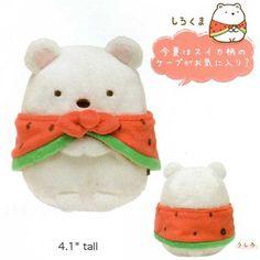 "San-X Sumikko Gurashi ""Things in the Corner"" 4"" Plush: Polar Bear & Watermelon"