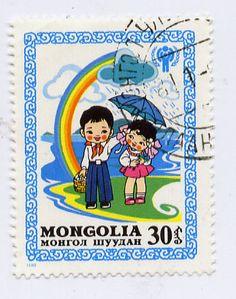 vintage Mongolian stamp