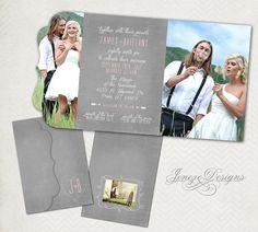 Boutique Folded Photo Wedding Invitation by Jeneze on Etsy, $18.00