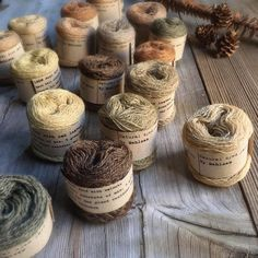 Walnuts, oak leaves and some tansy. The earthy wonder of @mette_mehlsen hand-dyed naturally dyed little bundles of wool threads. I love them so, right down to their simple but perfect brown wraps. At Loop and online. Plant Dyed by Mehlsen for Loop, London
