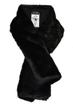 Armani Jeans Black Scarf http://www.youngideasfashion.com/store/product/6505/Armani-Jeans-Black-Scarf/ warm Armani Jeans faux fur scarf #youngideas
