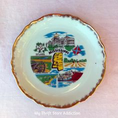 Mississippi state souvenir plate available at Etsy Thrift Store Addiction!