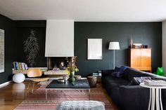 Living room with dark wall