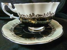 Royal Albert Tea Cup And Saucer Black Pompadour Series Gold Trim Very Pretty