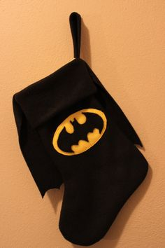 I WANT IT!!!!! Batman Christmas Stocking by LucysRebellion on Etsy, $14.00. Maybe I can get a wonder woman one....