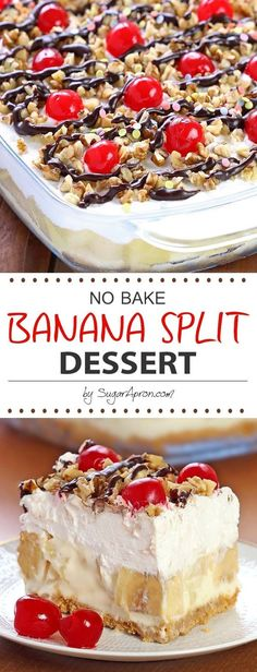 4 Bananas. 1 (20 oz can Pineapple. 1 Hot fudge sauce. 1 (16 ounce container Cool whip. 3 cups Powdered sugar. 1 tbsp Rainbow sprinkles. 1 cup Walnuts or pecans. 1 box Graham cracker crumbs. 1 8 oz cream cheese. 1 stick Butter. 1/4 cups Butter. 1 (4 ounce jar Maraschino cherries.