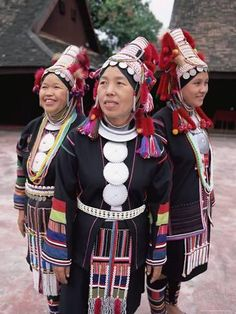 Three Akha Hill Tribe Women in Traditional Dress, Thailand   Photo by Gavin Hellier