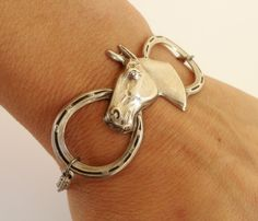 Steampunk Horse Bracelet- Antique Silver Ox- Horseshoe Bracelet. $26.00, via Etsy.