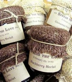 Items similar to Custom Wedding Favor, Rustic Jam Favors with Burlap Cover oz on Etsy Burlap Wedding Favors, Burlap Wedding Decorations, Custom Wedding Favours, Burlap Weddings, Bridal Shower Gifts For Bride, Bride Gifts, Jam Favors, Party Favors, Party Gifts