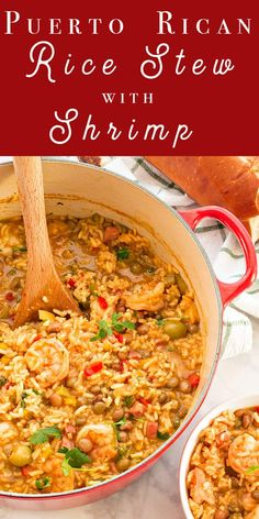 This hearty, filing Puerto Rican stew is full of pigeon peas, shrimp, and rice. It's satisfying soul food for cold days—or any day you need some TLC. Soaking the rice ahead of time speeds up the cooking. Pea Recipes, Seafood Recipes, Mexican Food Recipes, Soup Recipes, Cooking Recipes, Healthy Recipes, Ethnic Recipes, Healthy Food, Shrimp And Rice Recipes