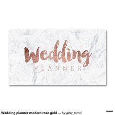 Wedding planner modern rose gold typography marble Double-Sided standard business cards (Pack of 100)
