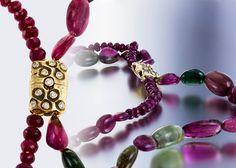 Audrius Krulis necklace with ruby, tourmaline, and 18ky & diamond clasp. DVVS Fine Jewelry