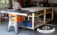 This is a massive 4x8 workbench, designed to fit a whole sheet of plywood on it. I built it to serve as an outfeed table for my table saw. The shallow second shelf allows you to store tools and materials within arm's reach without having to clutter up the top of your workspace.