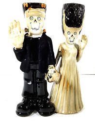 Yankee Candle Boney Bunch Frankenstein and Bride Taper Candle Holder 2014 New