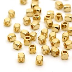 This vendor has good prices. ME-115-GD / 20 Pcs - Faceted Mini Nugget Bead, Gold Plated over Brass / 2.5mm x 2.5mm