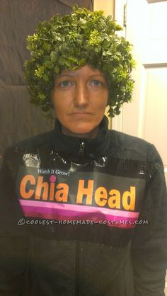 Last-Minute Original Chia Head Costume I have always wanted my kids to do this Chia head costume for Halloween and they never would. My office had a Halloween party and I was going as a wit… Hallowen Costume, Last Minute Halloween Costumes, Creative Halloween Costumes, Halloween Kostüm, Inexpensive Halloween Costumes, Easy Adult Halloween Costumes For Women, Original Halloween Costumes, Halloween Projects, Halloween Makeup
