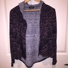 Tribal hooded cardigan Got this at a boutique and wore it once. It does not say the size but I believe it is a small. Tribal pattern. Hood on the back. Feel free to make an offer! bp Sweaters Cardigans