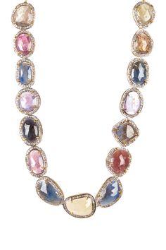 Diamond Halo Multicolored Natural Sapphire Necklace - 3.89 ctw on HauteLook
