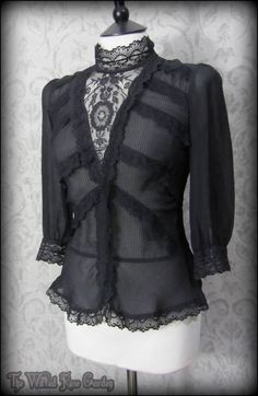Gothic Victoriana Black Stripe Silk & Lace Ruffle High Neck Blouse 10 12 Vintage | THE WILTED ROSE GARDEN