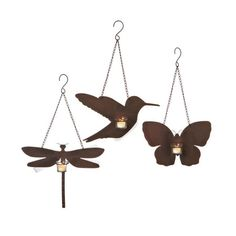 Add a touch of whimsy to your master suite or living room decor with this lovely hanging candle holder set