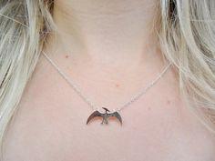 Pterodactyl Brontosaurus Diplodocus Dinosaur Jurassic Park Pendant Silver Necklace Jewellery Jewelry
