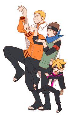 Naruto, Konohamaru and Boruto