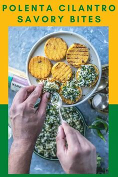 This vegan polenta recipe makes a great plant-based breakfast or a vegan appetizer! Here, grilled gluten-free polenta is stuffed with cilantro and coconut. Vegan Appetizers, Savory Snacks, Appetizers For Party, Polenta Cakes, Polenta Recipes, Plant Based Breakfast, Breakfast Bowls, Vegetarian Recipes, Vegan Vegetarian