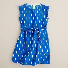 Girls' mini-ruffle dress in ikat - jcrew $72   So cute, wish it came in my size!