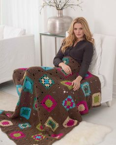 This granny square afghan, made with bold colors of Jiffy®, is perfect for those who love retro styles with a modern twist.