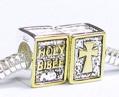 Queenberry 1 PC 14k Gold on 925 Sterling Silver Holy Bible Cross Inspirational Bead For Pandora European Bead Charm Bracelets $18.98