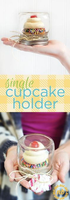 A simple and easy trick to making a single cupcake holder. A great idea for gifting a neighbor or teacher. #teachergifts