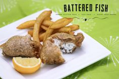 Battered fish and chips.  Gluten free, egg free, dairy free. Thermomix TM5 Edition.