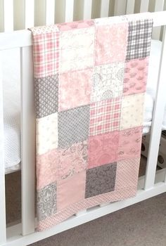 Modern Patchwork Baby Blanket Pink Girl Infant Crib by Kath1974