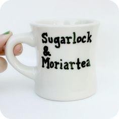 Sherlock Holmes Funny Mug coffee tea cup diner mug black white Moriarty mystery literature. $12.00, via Etsy.