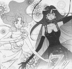 "Michiru Kaioh (Sailor Neptune) & Setsuna Meioh (Sailor Pluto) in their planetary princess dresses from ""Sailor Moon"" series by manga artist Naoko Takeuchi."