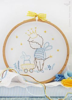 Prince embroidery, Prince baby shower, Baby boy nursery - My private kingdom - Embroidery Kit, Prince crown, Prince birthday, Little prince by TamarNahirYanai on Etsy https://www.etsy.com/uk/listing/197519901/prince-embroidery-prince-baby-shower