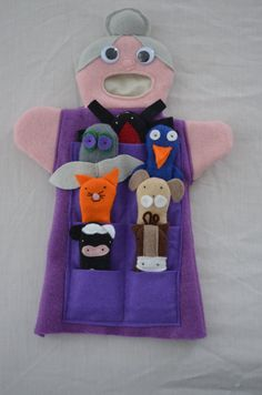 There was an Old Lady who swallowed a fly Hand Puppet & 7 Finger Puppets on Etsy, $65.00