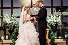 Wedding ceremony in Nashville, TN. Alter arrangements with white gladiolas, seeded eucalyptus, white hydrangea. Planning, flowers and decor by Regalo Design.