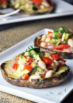 Y U M!!! Herbed Portobellos with Gruyere & Grilled Vegetables #lowcarb #savory #veggielove