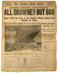 One of the best ways to learn about history is from newspapers, which is especially true for an event like the Titanic. Old newspapers are full of interesting artifacts modern day history books may have forgotten. Rms Titanic, Titanic History, Titanic Sinking, Ancient History, Titanic Boat, Titanic Wreck, Titanic Movie, Original Titanic, Newspaper Headlines