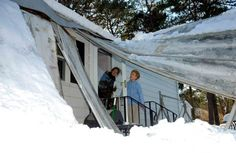 A Riverhead home's roof partially collapsed from the weight of snow. Description from newsday.com. I searched for this on bing.com/images